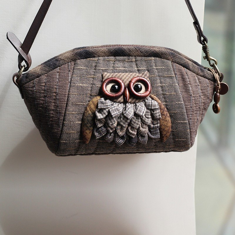 Tea brown owl small debris bag - hand-made material package