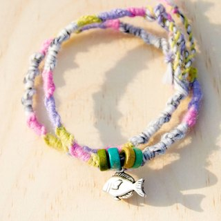 / Valentines Day gift / feel gradient color seabed fish hand rope (around two laps design)