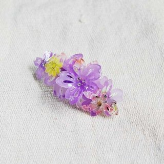 Thousands of cherry blossoms, three-dimensional flowers, automatic clips, hair clips, flat clips - purple