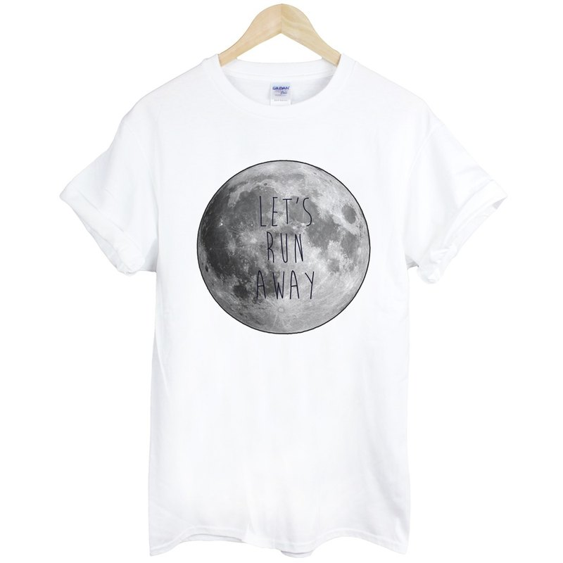 LETS RUN AWAY-Moon short-sleeved T-shirt - white moon Earth Wen Qing Fashion Design fashion photo living text