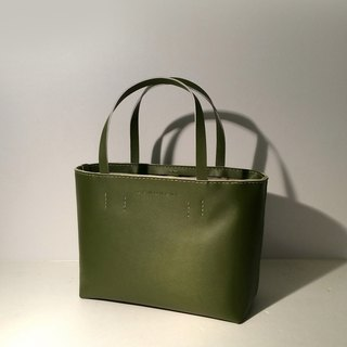 Zemoneni leather tote bag Oliver green color in S size