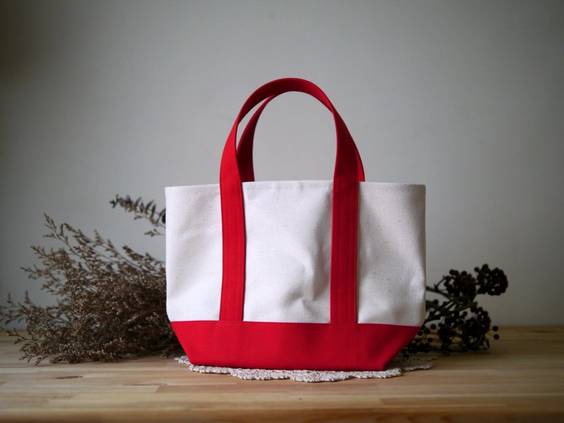 Classic Tote Bag Msize (Short Band) kinari x red - Native White x Red -