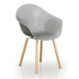 TOOU ArmShell Chair with oak legs (gray)