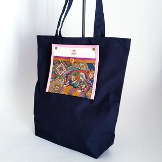 Tote bag with brocaded pocket with Japanese Traditional Pattern