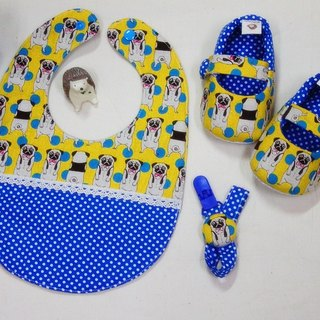 Pug (mustard yellow) shoes + bag + Pacifier chain births ceremony. The full moon ceremony