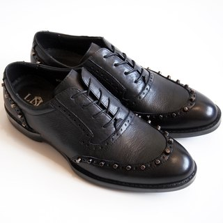 [LMdH] D2A19-99 calf leather carving rivets Rivets-oxfords jelly gas bottom black Oxford shoes ‧ ‧ Free Shipping