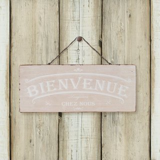 Southern France style wood retro ornaments -BIENVENUE- welcome- beige
