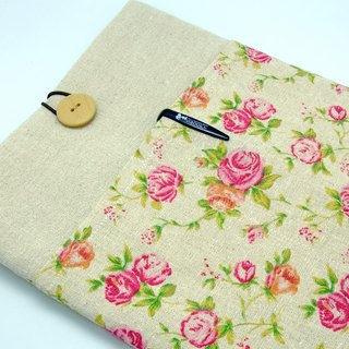 iPad Air sleeve, iPad Case iPad Cover, Samsung galaxy tab 3 10.1 with 2 pockets 自家製平板電腦袋,布套 ,筆布包 (可量身訂製) - 玫瑰 (177)