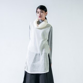 SU: MI said Turtleneck large lapel thick needle wool vest _5AF201_ white beige wool