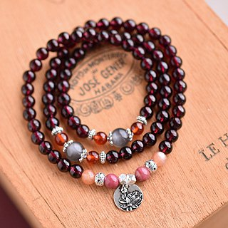 Moonstone*Rose Stone*garnet bracelet three times silver flowers