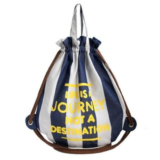 Big whale beam after the mouth backpack (marine wind blue and white striped models)
