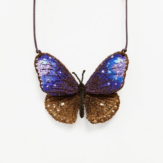 Embroidery Butterfly Necklace / Striped Blue Crow Butterfly