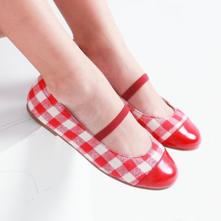 Taiwan made lattice patent leather doll shoes - red and white grid