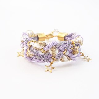 Lilac braided bracelet with little star