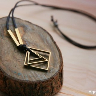 The Triangle in Square Necklace(Imitation leather necklace)