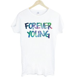Forever Young-Galaxy Girl short-sleeved T-shirt - white forever young galactic cosmic triangle Wen Qing fashion design own brand fashionable round