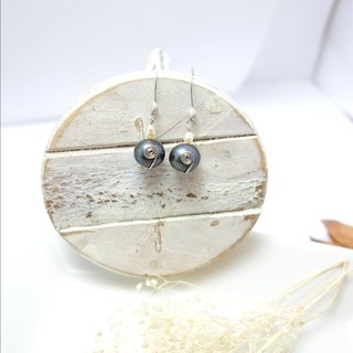 ◎ earrings black pearl earrings hand-wound