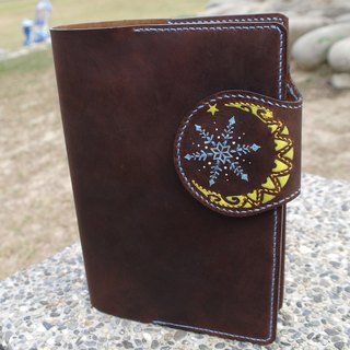 Snowflake brown leather slipcase with the month hand-sewn Handmade 150207