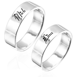 Customized Pair Ring Couple Ring 8mm Flat Edition English Text Name Pure Silver Ring
