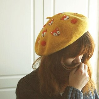 Autumn forest playful fox wool felt painter hat