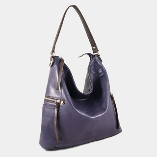 Influxx GND Melanie Leather Shoulder Bag / Work Bag / Tote  – Purple Reign