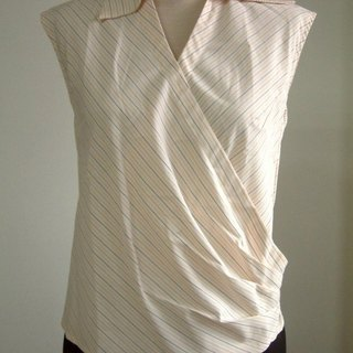 Hypotenuse sleeveless shirt collar shirt (orange striped coffee)