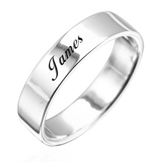 Custom Ring Engraving Silver Ring 6mm Flat Lettering English Text Name Pure Silver Ring