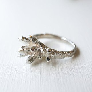 [On the 9th] crystal crystal ring silver