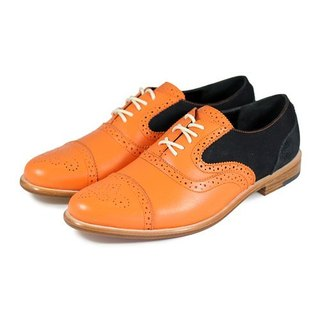 Poppy M1093B Orange Black leather oxford shoes