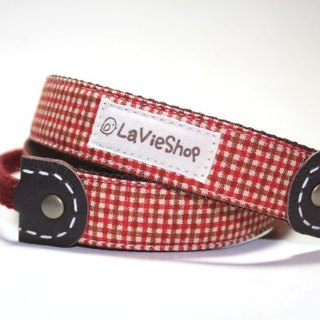 Classic Check (Red brown) 25mm Handmade Camera strap GF/NEX/DLSR/M43