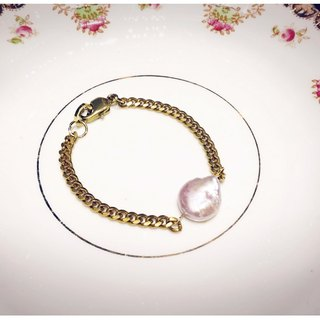 ∴Minertés = elegant pink mother of pearl bracelet brass ‧ ∴