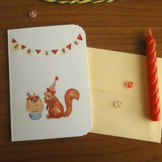 Squirrel, A chestnut birthday wish postcard / envelope Cards