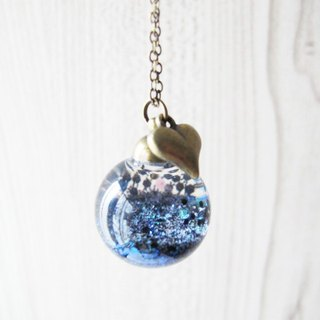 *Rosy Garden* valcano Ash glitter with water inisde glass ball necklace