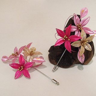 [Mrs.U Tibetan silk sweet words] spring - wrapped flower brooch