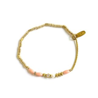 Ficelle | handmade brass natural stone bracelet | [Coral] Pavlova perfect dance shoes