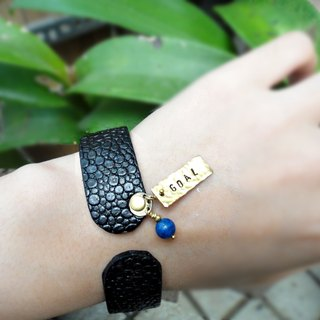 Bracelet ◎*Custom lettering*brass tag leather bracelet