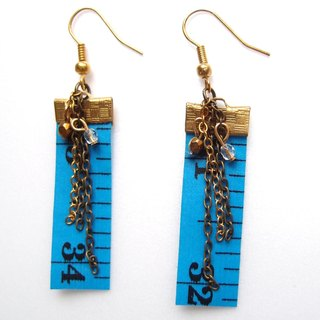 Inch Earrings| Tape measure earrings (Short) |Blue