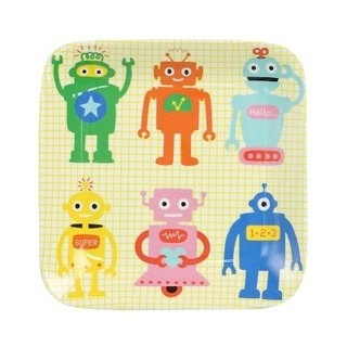 GINGER Kids │ Danish Thai Design - Naughty Robot Square Plate