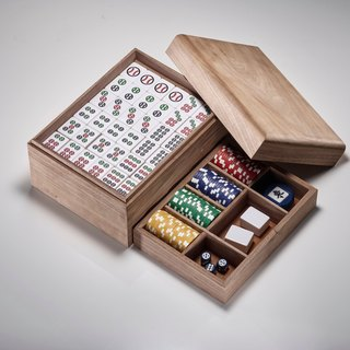 Rustic walnut box baseball mahjong