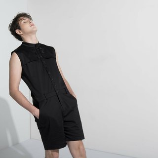 Sevenfold * Stand Collar Flap Jumpsuit (Black) collar flap piece Pants (black)