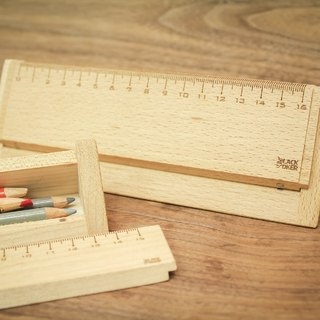 Triangle Triangular wooden ruler pencil box / tool box - Maple (small)