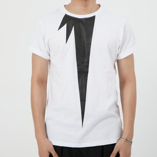VTGO pure white geometric cotton T