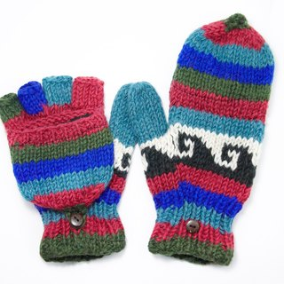 Valentine's Day gift limit a hand-woven pure wool knit gloves / detachable gloves / bristles gloves / warm gloves - red and blue lines national totem