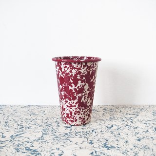 Enamel cups - red Burgundy white and cream marble