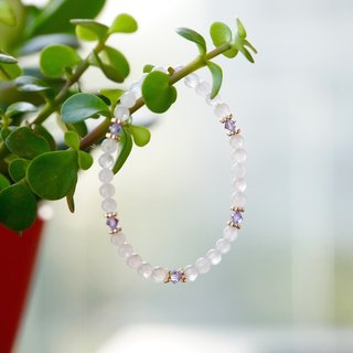 ITS-879 [natural stone series, snowflake] jade / crystal / brass elastic bracelet.