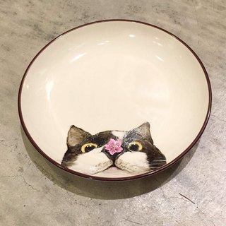 Wall-mounted decorative tray / snack tray series - cat with nose and flower