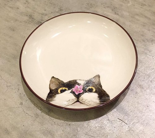 Wall-mounted decorative plate / snack plate series - nose stained cat