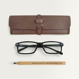 Three-dimensional square pencil case / glasses case -- dark brown