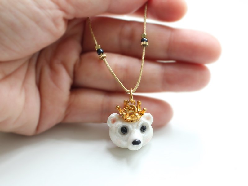 Bear polymer clay necklace - One of a kind gift