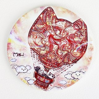 Good hand painted ceramic absorbent coaster - Cat hot air balloon